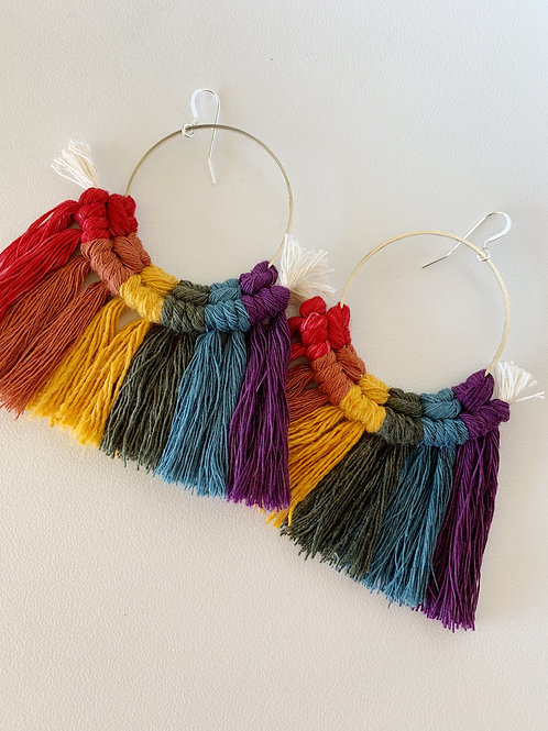 Limited Edition Sterling Silver PRIDE Macrame Earrings