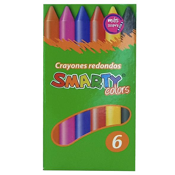 CRAYONES REDONDOS CHICOS SMARTY COLORS 6 PZAS
