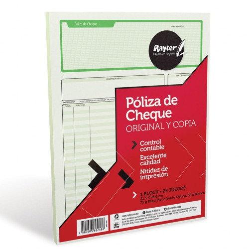 BLOCK CHEQUE POLIZA DUPLICADO T/CARTA C/25 JUEGOS RAYTER