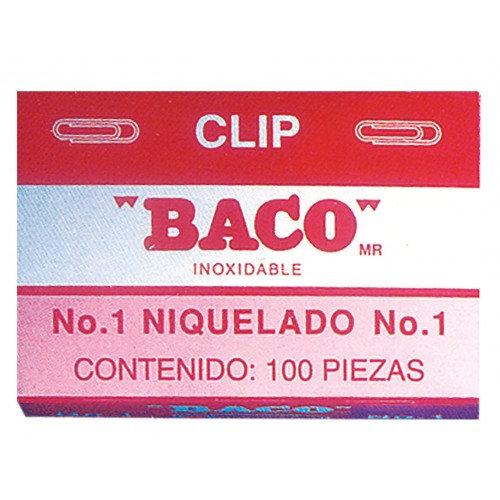 CLIP INOXIDABLE NIQUELADO REDONDO No 1 C/100 PZAS BACO