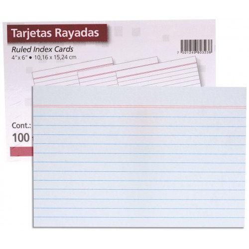 """TARJETA BIBLIOGRÁFICA 4X6"""" RAYA 100/PZS"""