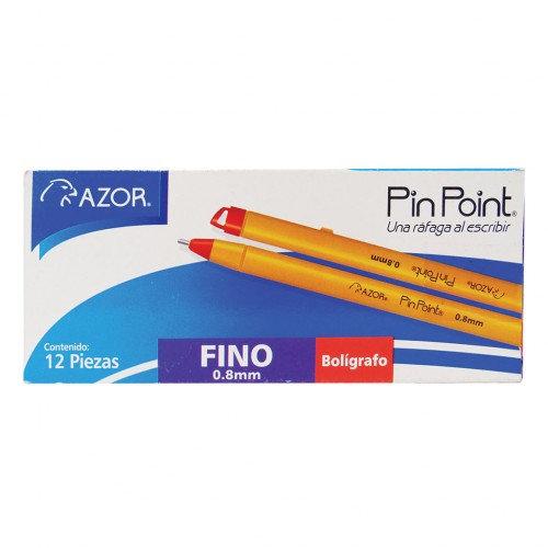 BOLIGRAFO AZOR P/FINO STICK ROJO C/12 PZS PINPOINT
