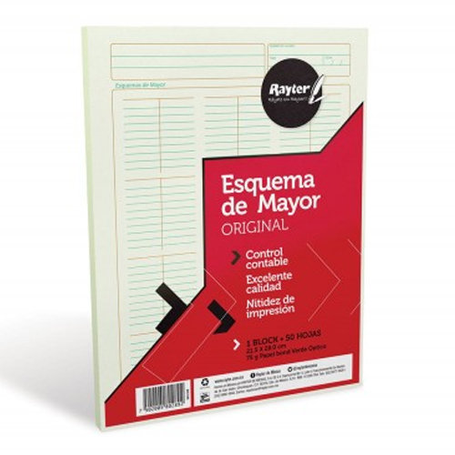 BLOCK ESQUEMA DE MAYOR RAYTER TAMAÑO CARTA C/50 HJS