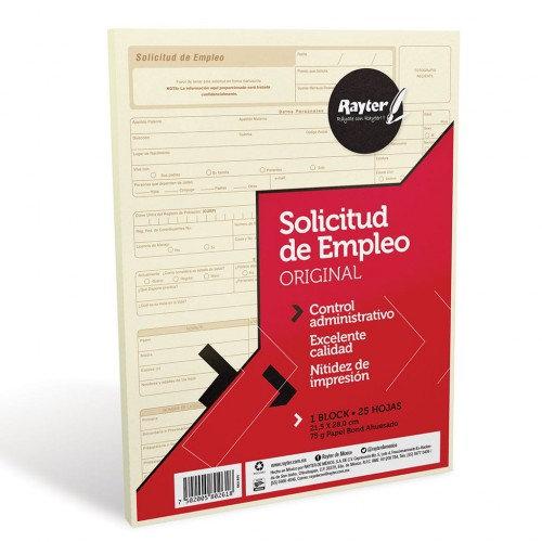 SOLICITUD DE EMPLEO RAYTER TAM CARTA C/25 HJS