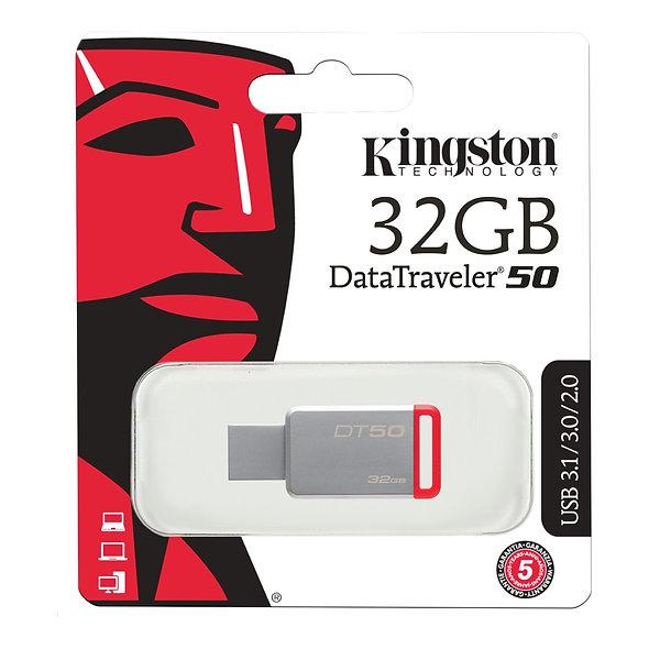 MEMORIA USB 32GB KINGSTON DT50 ROJO