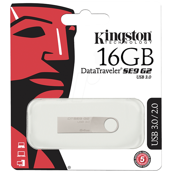 MEMORIA USB 16GB KINGSTON DT SE9 G2 PLATA