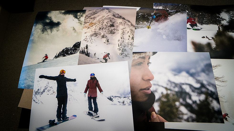 collage of women skiing