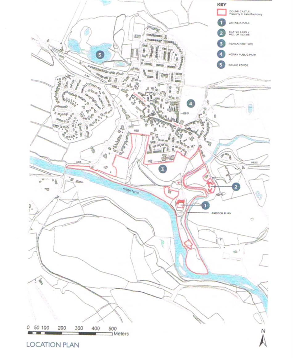 Planning drawings of Doune and surrounding area with a zone outlined in red ink