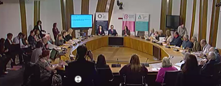 Delegates seated in a meeting room at the Scottish Parliament