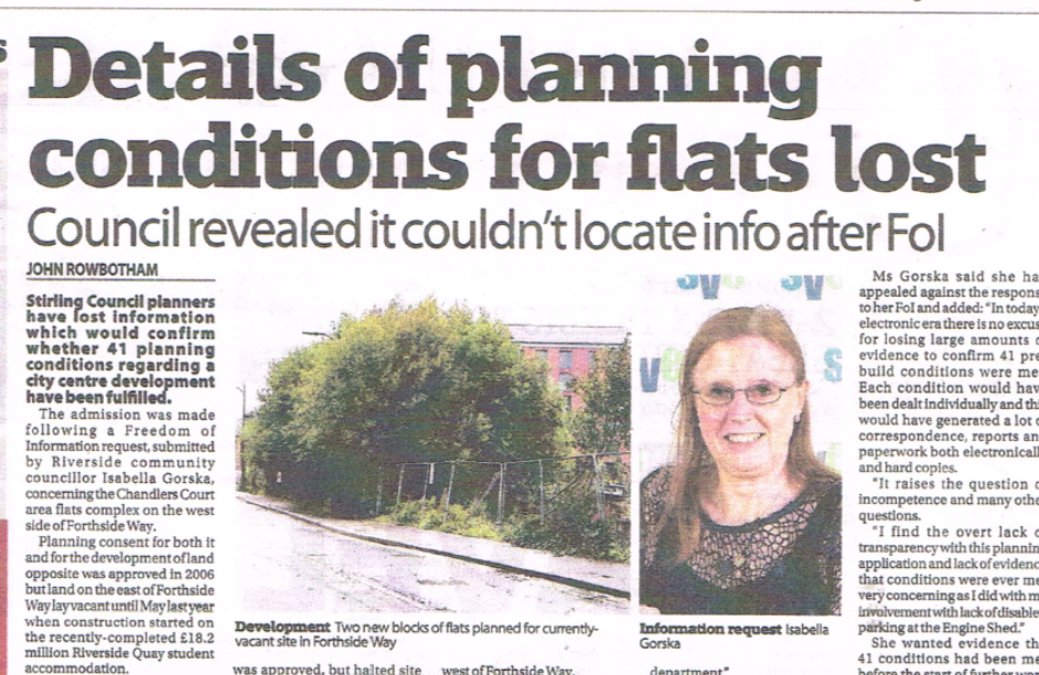Newspaper cutting with heading that reads: Details of planning conditions for flats lost: council revealed it couldn't locate info after FOI