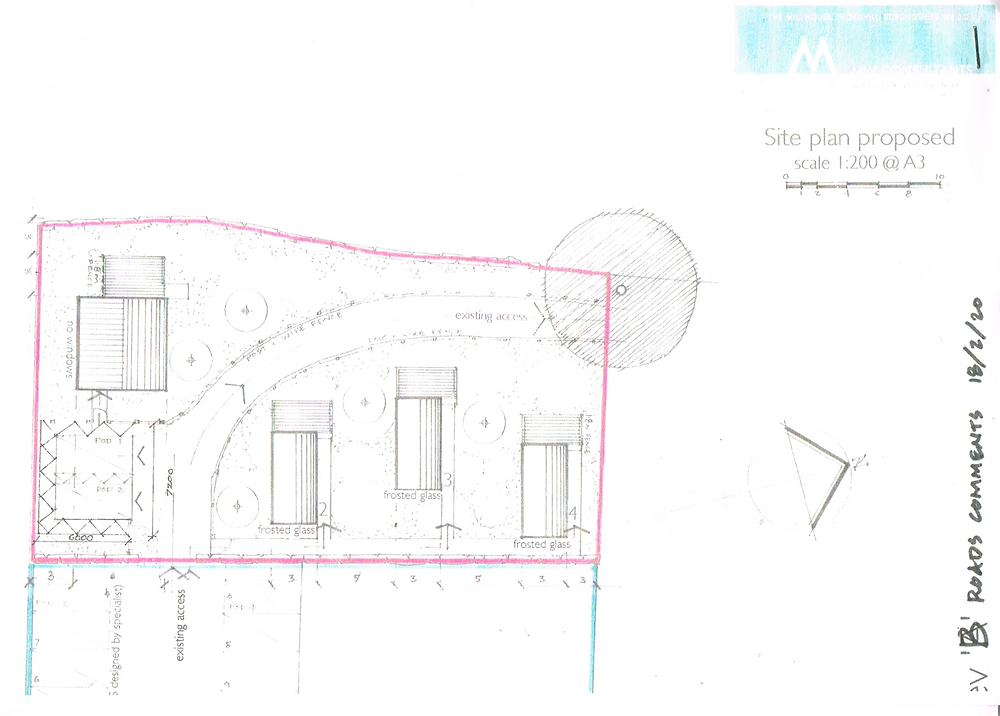 architect drawings showing oblong shapes that indicate the holiday pods