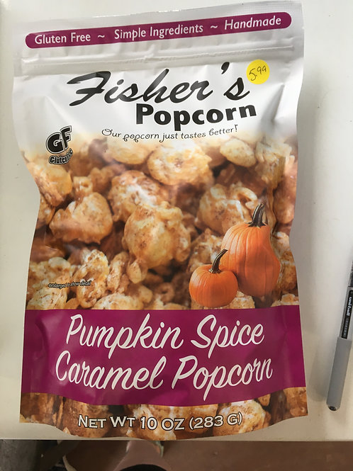 Fisher's Pumpkin Spice Caramel Popcorn (10oz pkg)