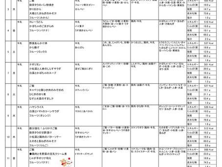 令和2年度 12月献立表(前半)
