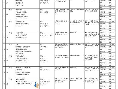 令和2年度 11月献立表(前半)