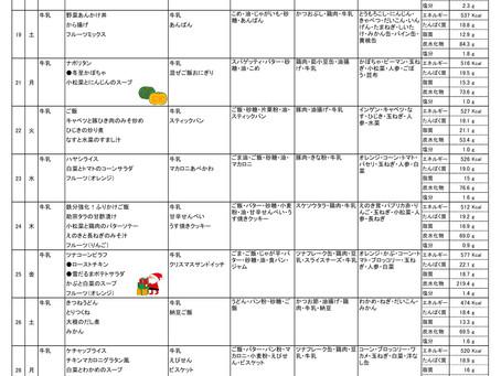 令和2年度 12月献立表(後半)