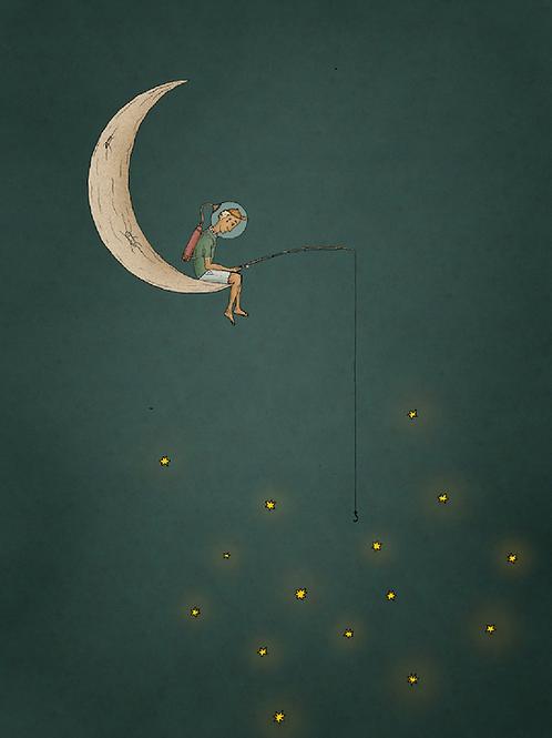 Mondjunge, der nach den Sternen fischt - 84x60