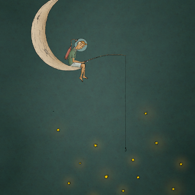 Moonboy fishing for stars
