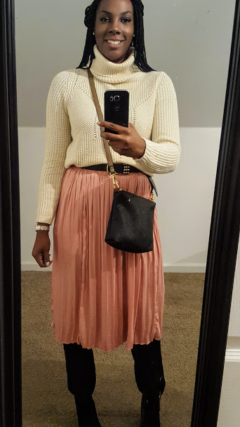 mix of affordable and thrifted pieces. Sweater (Thredup) Skirt (Newyork&company)