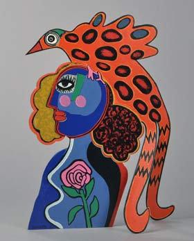 Femme et d'oiseaux exotiques