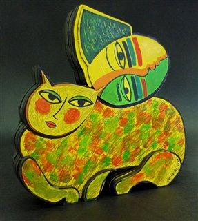 Chat et Femme sur l'herbe