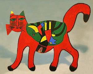 Chat géométrique rouge et vert