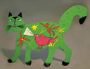 Chat vert avec Oiseau