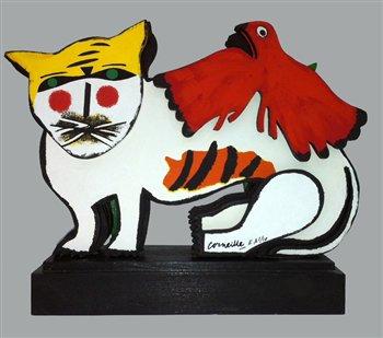Chat Blanc et Oiseau Rouge