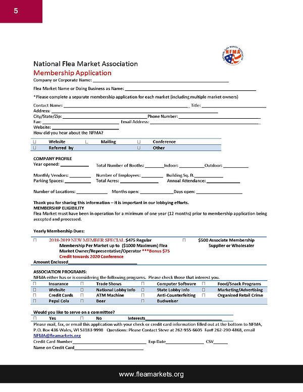 NFMA- NEW MEMBER Application Packet 2019