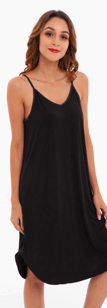 Black Bamboo Spaghetti Dress Sleepwear
