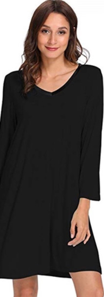 Black Bamboo Long Sleeve Nightdress