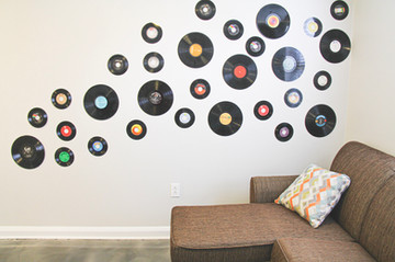 We collected records from thift stores around Nashville to make this cool record wall!
