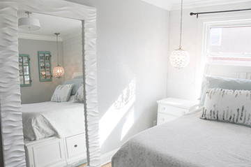 Large white leaning mirror from Ashley Furniture!