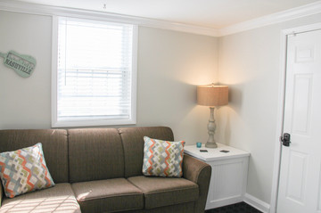Pillows from Ashley Furniture!  Jordan built this white sump pump cover to make it look like a side table... sneaky!