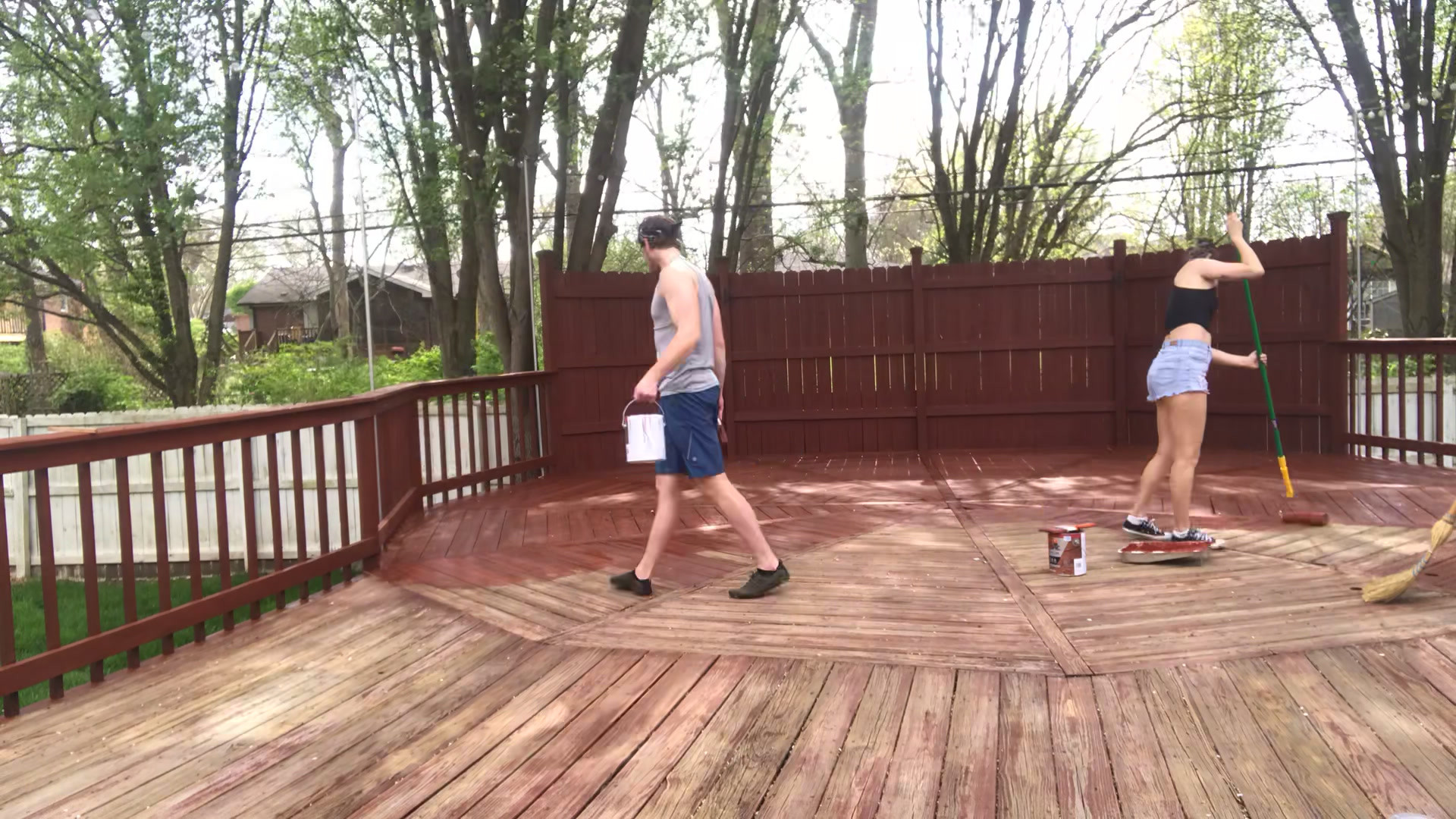 Staining the deck!