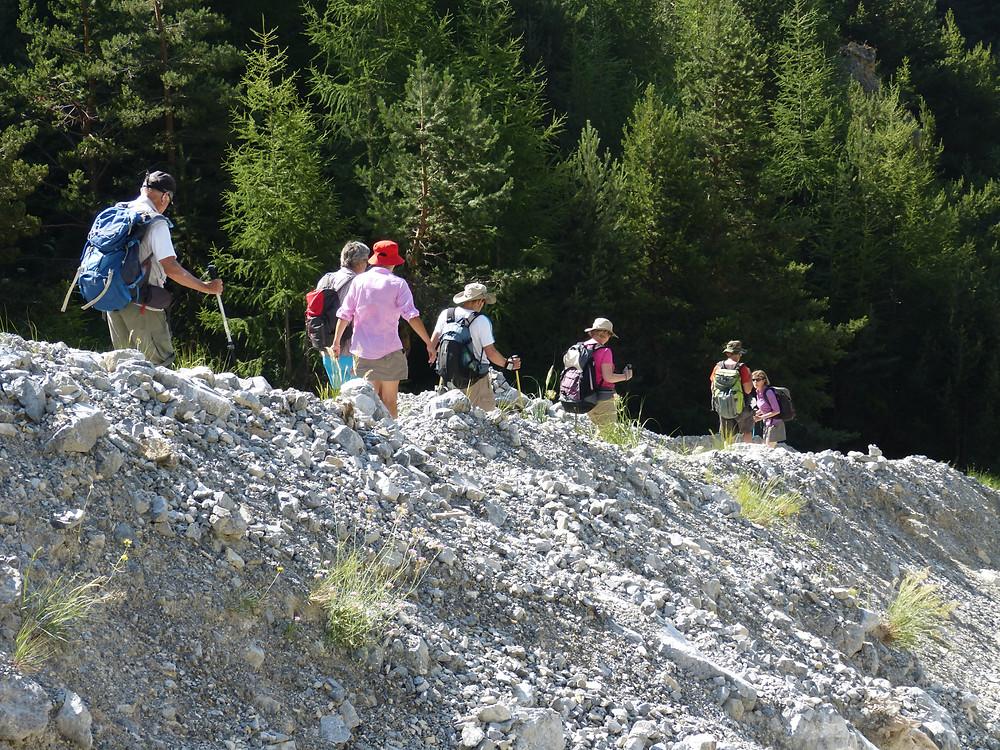 Notre groupe de randonneur en train de descendre déterminé et joyeux une pente