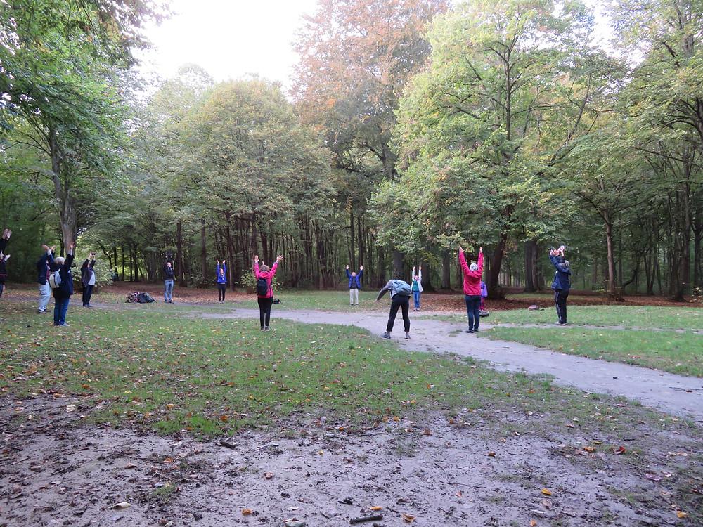 Image du groupe de randonneur au milieu de la forêt en train de se détendre
