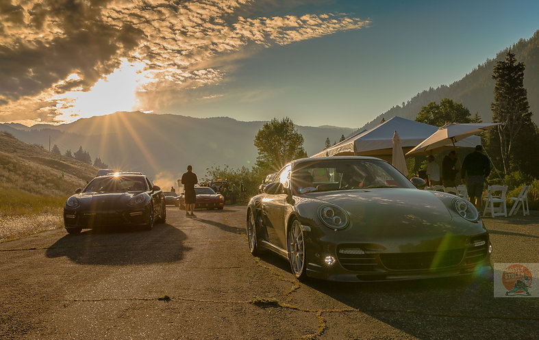 Porsches entering the paddock at the 2016 Sun Valley Road Rally. Copyright David Concannon