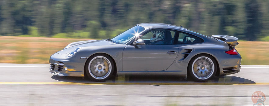 Porsche 911 Turbo S surpasses 200 mph in the 2016 Sun Valley Road Rally. Copyright David Concannon.