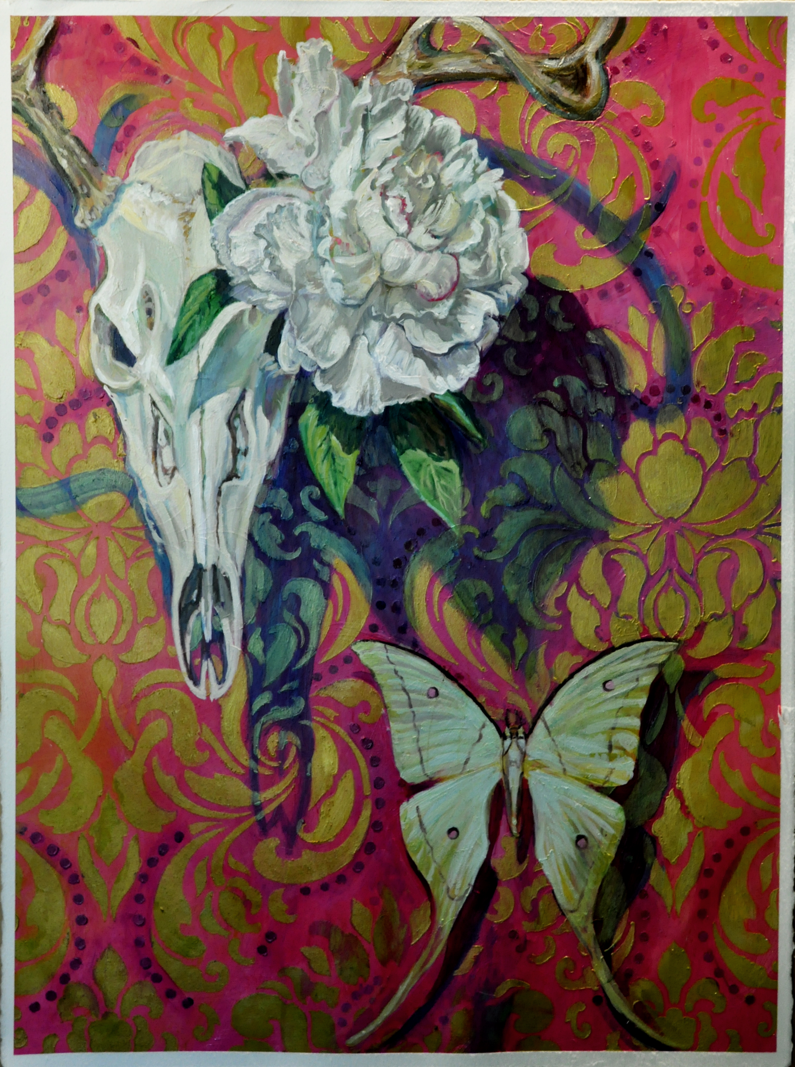 Painting Deer Skull Luna Moth Acrylic on