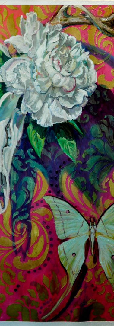 Painting Deer Skull Luna Moth Acrylic on