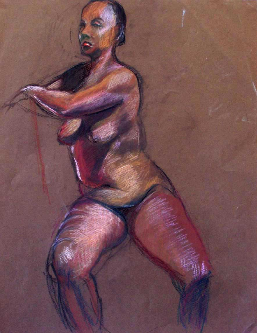 Figure Study Marvins Dancer Pastel on Pa