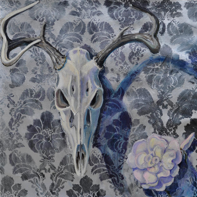 Deer Skull with White Rose