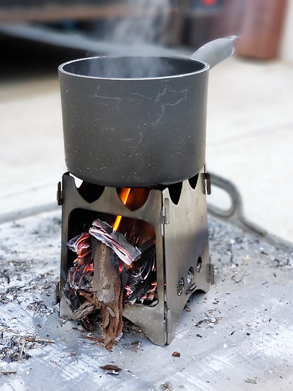 Collapsible Stainless Camp Stove/ Fire Starting Kit