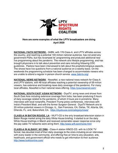 FCC Letter - LPTV Pandemic Response - Ap