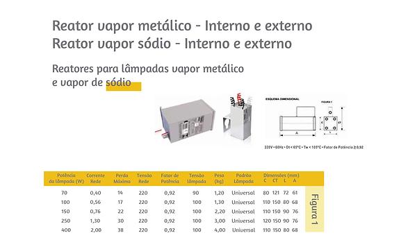 Reator vapor matálico e vapor sódio. Ótimos preços e condições de pagamento