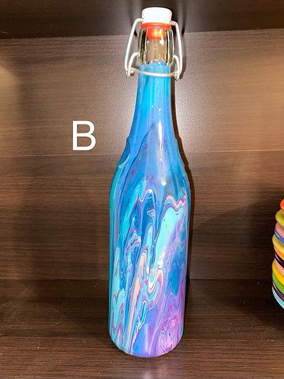 Painted Vintage Glass Bottle