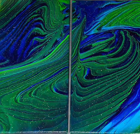 """""""Emerald Abyss"""" Acrylic on Double Canvas - Multiple Ring Pour - 20x20"""