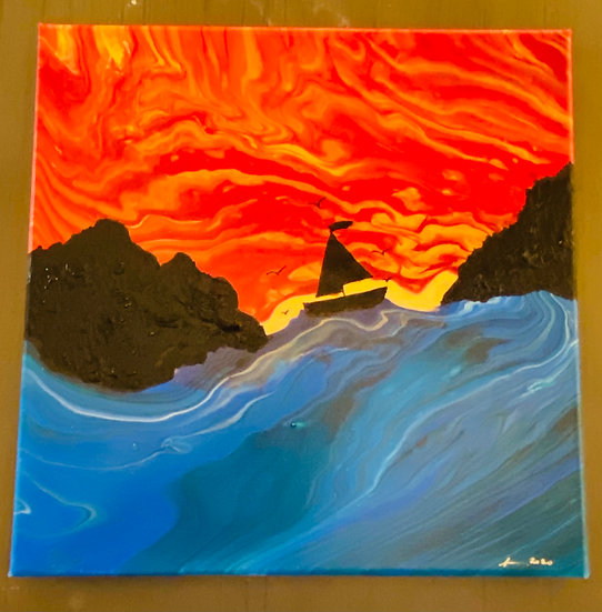 Solace at Sunset(mini version) - 12x12 Acrylic on Canvas