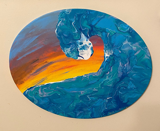 """""""Wave at Sunset"""" 16x20 Latex on Oval Canvas"""