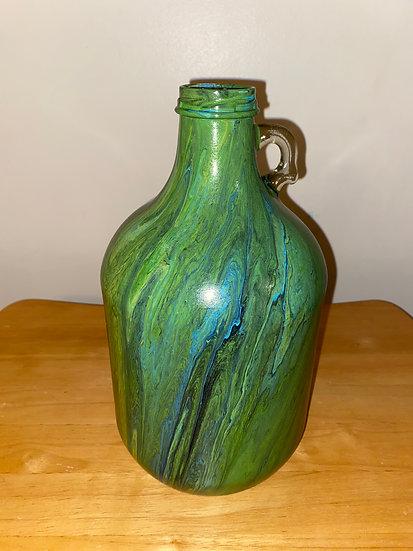 Hand Painted Glass Jug/Flower Vase - Green